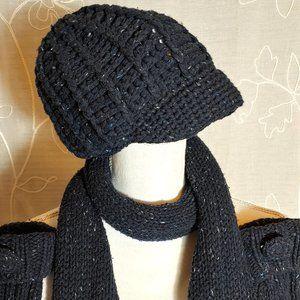 GAP Hand Knit Heathered Blue Scarf Gloves Hat Set